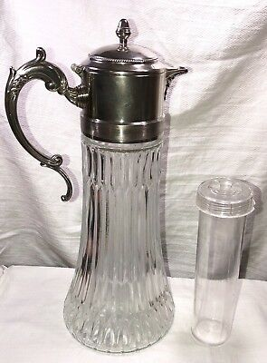 Vintage Crystal Glass & Silver plate Wine Carafe Decanter with Ice Insert