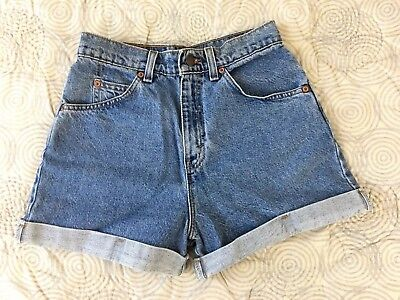 Vintage Levi's 910 Classic Fit High Waisted Denim Shorts Juniors Sz 7 USA