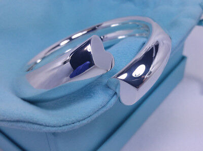 Tiffany & Co. Paloma Picasso Double Loving Heart Coil Bangle Bracelet Silver 925