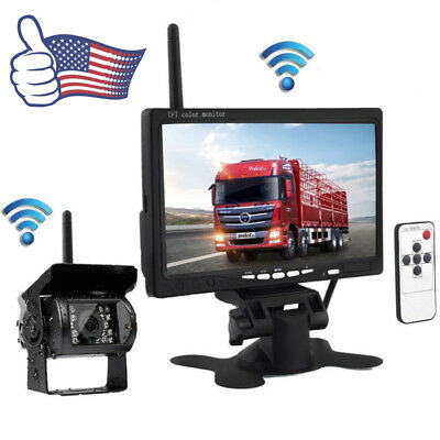 "Wireless 7"" Monitor + IR Rear View Backup Camera Night Vision for RV Truck Bus"