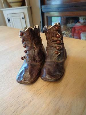 Antique Child's Brown Leather Button Up Shoes~Shows Wear~