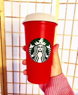 FAST SHIP! NEW Starbucks Red Reusable Holiday Cup 2018 16 oz LIMITED 50 Cent Off