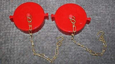"2 EACH  2.5"" NST Fire Hose Hydrant Adapter Cap and Chain FPPI Red"