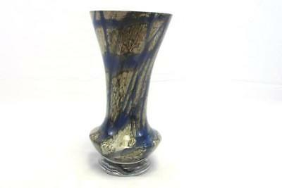 Vintage Makora Krosno Polish Art Glass Vase Blue Gold Hand Made in Poland Ribbon