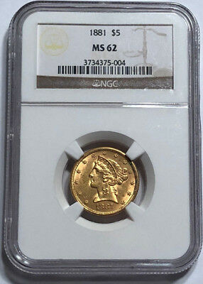 1881 $5 Gold Liberty Half Eagle NGC MS 62