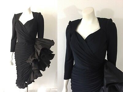 Vintage C. Randall Brooks Dress 80s Designer Ruffle Holiday Party Wiggle Retro