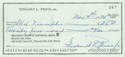Vincent Price Signed Personal Check with free Photo
