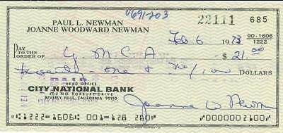 Joanne Woodward (Paul Newman) Signed Personal Check with Free Photo