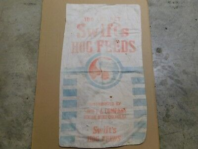 Vtg Cloth Swift's 100 Lb Hog Feed Sack Swift and Co