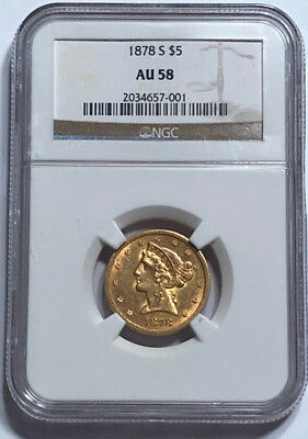 1878-S $5 Gold Liberty Half Eagle NGC AU 58