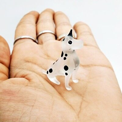 Dalmatian Puppet Dog Art Glass Hand Blown Miniature Figurine Animal Painted Gift