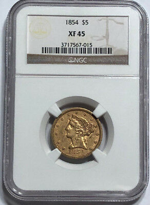 1854 $5 Gold Liberty Half Eagle NGC XF 45