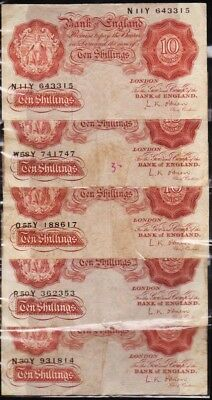 Lot Of Five (5) Vintage 10/s Notes From The United Kingdom. Nice Grades.