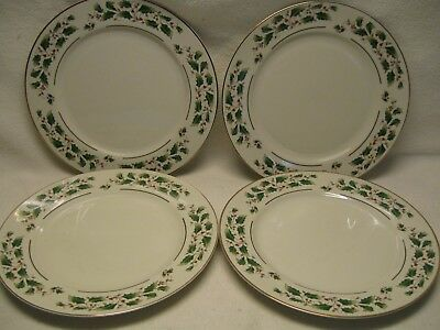 """Fine China of Japan Holly (4) 10 3/8"""" Dinner Plates Christmas Excellent Cond."""