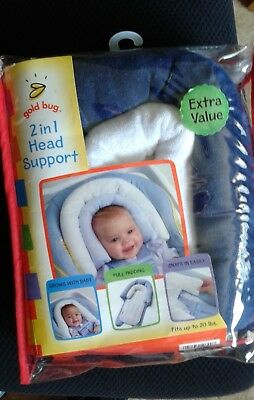 2 in 1 head support for baby - Gold Bug - Grows with baby -Fits up to 20 lbs.