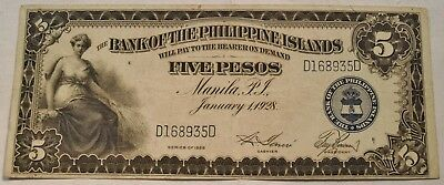 1928 5P The Bank of the Philippines Islands Five Pesos Note, Nice Looking Series