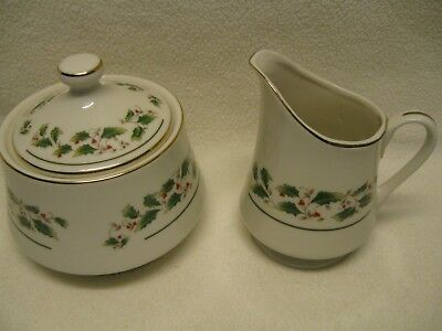 Fine China of Japan Holly Sugar Bowl & Creamer Christmas Excellent Condition