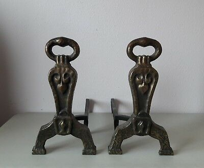 Antique Arts & Crafts 1920's Hammered Cast Iron Andirons