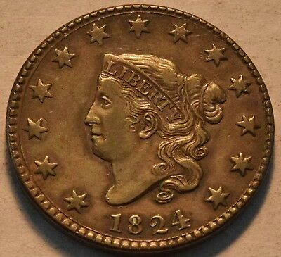 1824 Coronet Head Large Cent, Higher Grade, Scarce, Early Date Penny 1C Coin