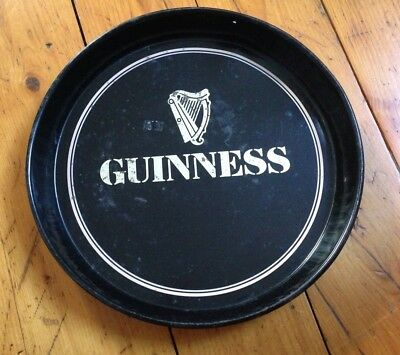 """Guiness Beer Tray Round Metal Black Ireland Collectible 12"""" Serving Tray Bar"""
