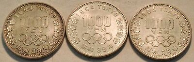 Lot of (3) AU/Uncirculated 1964 Tokyo 1000 Yen Olympic Silver Coins, Sharp 39