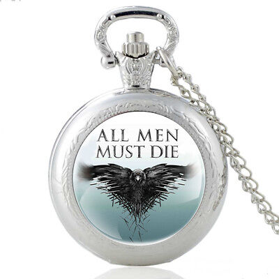 Vintage Game Of Thrones Antique Pocket Watch Necklace Chain Pendant Gift Retro