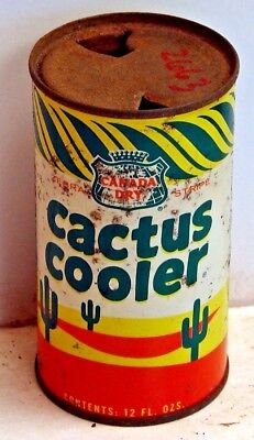 Canada Dry Cactus Cooler; Maywood, IL; solid top / flat top steel Soda Pop Can