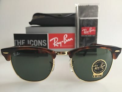 NEW Ray-Ban Clubmaster RB3016 W0366 51mm Tortoise Frame Green Lens Sunglasses