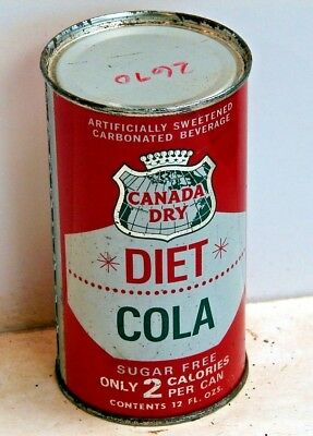 Canada Dry Diet Cola; Solid top / flat top steel Soda Pop Can