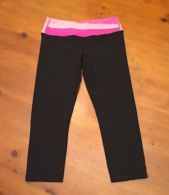 5ff0ad2002ed30 LULULEMON BLACK CROP Leggings Capri with Pink Waist Band size 6 ...