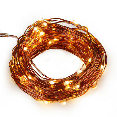 10M 100 LED String Battery-Powered Copper Wire Warm White Fairy Light+Controller