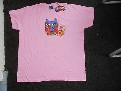 Laurel Burch  Pink Blossoming Feline XXL T Shirt NWT Cat Sun N Sand 2010
