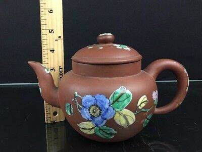 Colorful Chinese Pottery Yixing Teapot with Painted Flowers with Bottom Signed