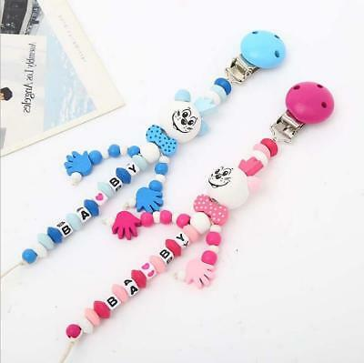 Wood Pacifier Chain Holder Clip Baby Feeding Teether Pacifiers Clip Dummy Clip