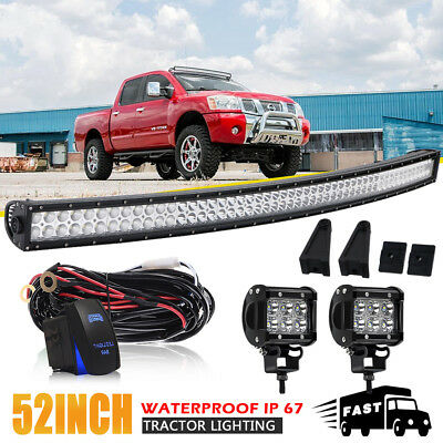 """52inch LED Light Bar Curved + 4"""" CREE LED Work Pods Off road Truck Ford Jeep 50"""""""