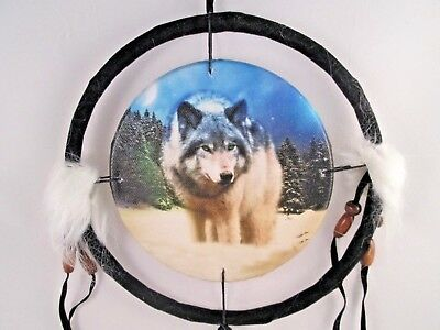 "6.5"" Wolf In Snow Dream Catcher With Beads,Fur & Feathers Wall Decoration"