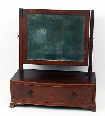 """Vintage Wood Shaving Stand with Tin Mirror 16"""" Tall with Drawer"""