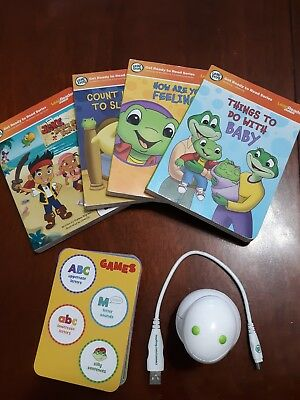 Leapfrog Tag Junior Jr Reading System Lot Reader 4 Books  and ABC's game cards.