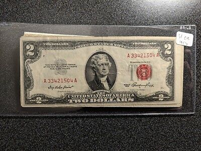 1928-1963 $2 Dollar Note Red Seal G-AU RARE CURRENCY!