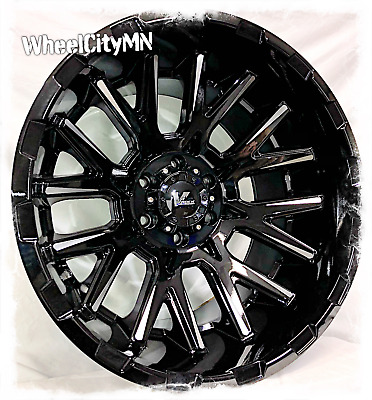 20 X12 Inch Gloss Black Milled Vrock Vr10 Wheels Fits Lifted Toyota