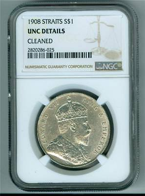 Straits Settlements 1908 Dollar King Edward Vii Ngc Unc Details Cleaned