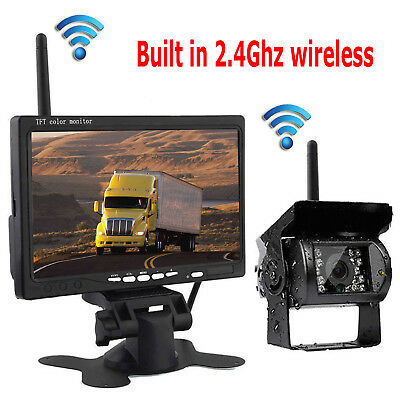 """Built-in Wireless Backup Camera System 7"""" Car Rear View Monitor for Bus Truck RV"""