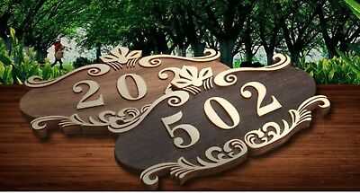 Gift Custom Address Door Plaque House Signs Number Family Name Rustic Wood 10*4""