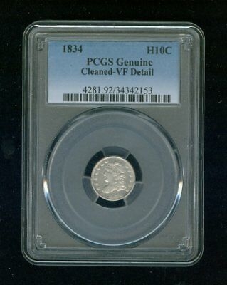 1834-P Capped Bust Silver Half Dime H10C PCGS Genuine Cleaned VF Details