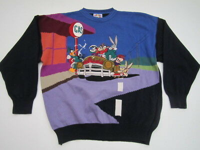 Looney Tunes Limited Edition Lario crewneck sweater Taz Bugs embroidered VTG