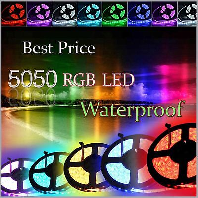 5M 5050 RGB LED Strip Lights IP65 Waterproof 300 LEDs 12V + 24 key IR Controller