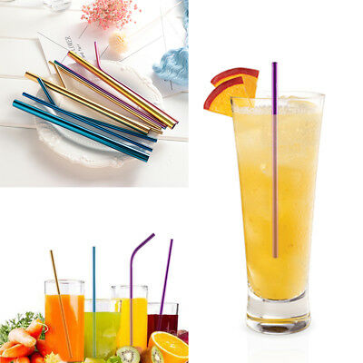 Bend Bar Accessories Stainless Steel Metal Straw Drinking Straws Cleaner Brush