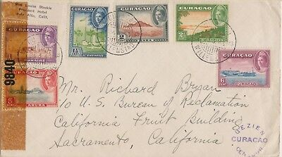 1943 used Curacao  censored commercial cover to USA