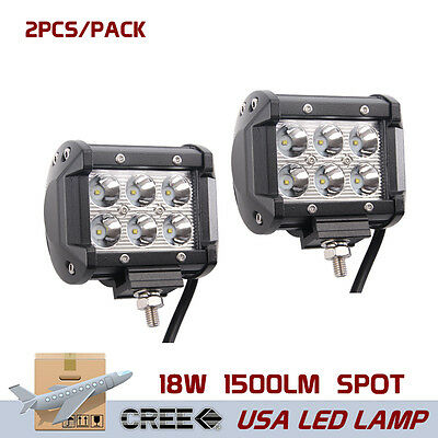 2X 4inch 18W CREE Led Work Light Bar Pods Spot Beam Cube Offroad SUV Driving ATV