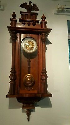 Large Walnut Vienna Regulator wall clock by Junghans Wurttemberg